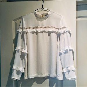 J Crew Ivory Tiered Scallop Lace Blouse 8T